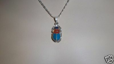 Egyptian Solid Stamped Silver Scarab - Beetle Enameld Pendant 0003