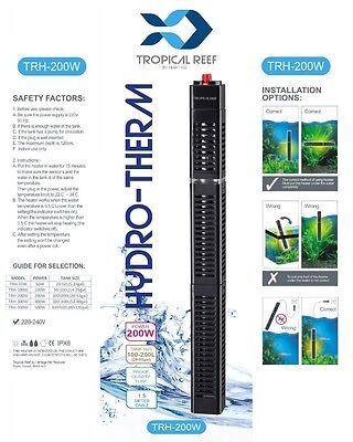 Hydro-Therm 200W Aquarium Heater With Heater Guard Fish Tank Submersible Stat