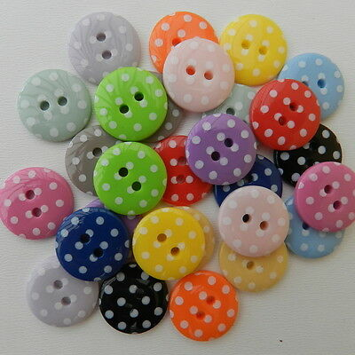 5 spotty round buttons lots of  colours 23 mm diameter