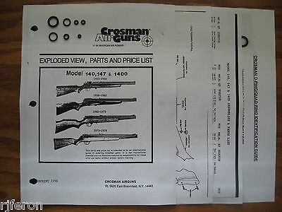 Crosman 140 147 1400 Seal O-Ring Kit - Two Exploded Views Parts List & Guide