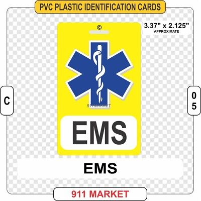 EMS PVC ID Card Badge EMT Ambulance Medical Emergency Identification Plastic C05