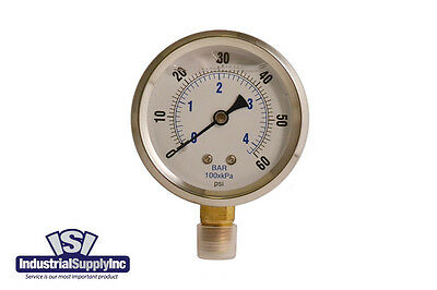 "0-60 psi 2.5"" Liquid-Filled Hydraulic Air Water Gauge"