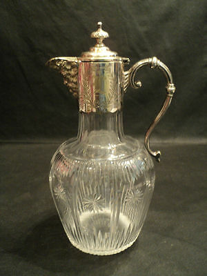 ANTIQUE CUT CRYSTAL JUG w/ SILVERPLATE BACCHUS SPOUT