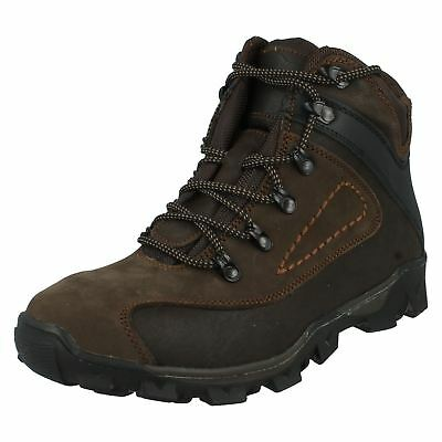 Mens brown leather/synthetic walking boots A3034