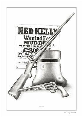 Ned Kelly Wanted  Drawing   Limited Edition Print