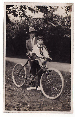 1920s Latvia Trendy Man with Child on BICYCLE Photo
