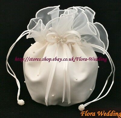 SATIN & ORGANZA BRIDAL DOLLY BAG/FLOWER GIRL HANDBAG,pl