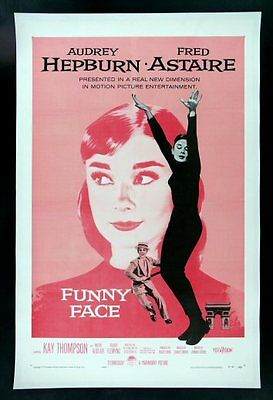 FUNNY FACE * CineMasterpieces AUDREY HEPBURN PINK ORIGINAL MOVIE POSTER 1957