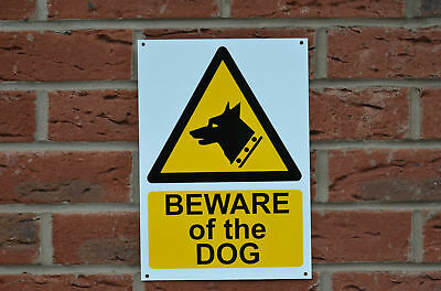 Beware Of Dog Warning/Caution A4 Plastic Sign Holed.