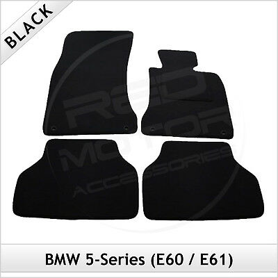 BMW 5-Series E60 E61 2003 - 2011 2-Clips Tailored Fitted Carpet Car Mats BLACK