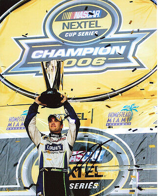 JIMMIE JOHNSON NASCAR CHAMPION HAND SIGNED AUTHENTIC 8X10 PHOTO w/COA PROOF