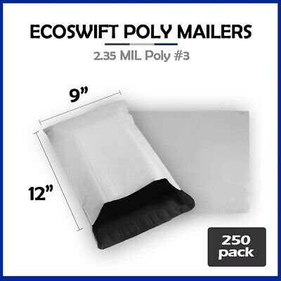 250 9x12 WHITE POLY MAILERS SHIPPING ENVELOPES BAGS 2.35 MIL 9 x 12