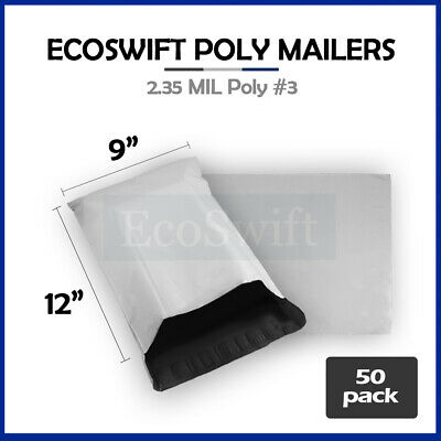 50 9x12 WHITE POLY MAILERS SHIPPING ENVELOPES BAGS 2.35 MIL 9 x 12