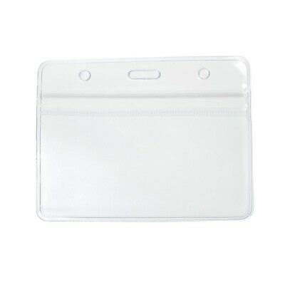 20x Clear Plastic ID Badge Card Plastic Pocket Wallet Holder Pouchs 98x86mm UK