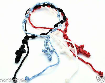 Rosary Bracelet Rope Religious Rosary knotted Bracelet lot 4 red blue black