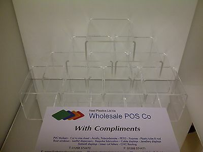 CLEAR ACRYLIC PERSPEX STANDS FOR RETAIL OR COLLECTOR DISPLAY CABINETS x 10