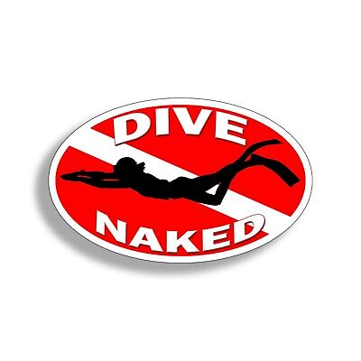 DIVE NAKED sticker decal scuba diving flag spearfishing sea beach lure bass reel