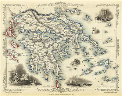 A Map of Greece in 1851 - repro Tallis old map