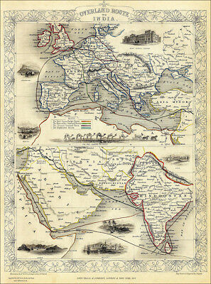 Overland Route To India - a  large reproduction of a Tallis original dated 1851