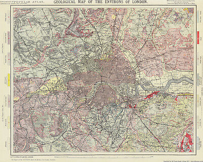 Geological Map of the Environs of London 1883, large modern reprint