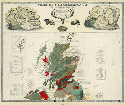 Geological & Palaeontological Map of the British Islands 2 maps by Johnston 1854