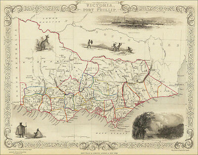 Victoria Australia, a map by Tallis 1851 - an enlarged reproduction