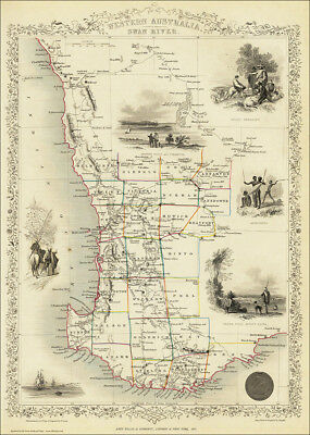 Western Australia, a map by Tallis 1851 - an enlarged reproduction