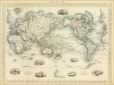 The World, a map by Tallis 1851 - an enlarged reproduction