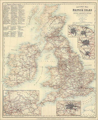 Railway Map of the British Isles by Fullarton 1872, greatly enlarged repro
