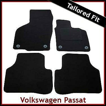 VW Passat B6 B7 2005-2015 Round Clips Fully Tailored Carpet Car Floor Mats BLACK