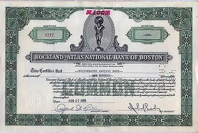 Rockland Atlas National Bank of Boston Stock Certificate