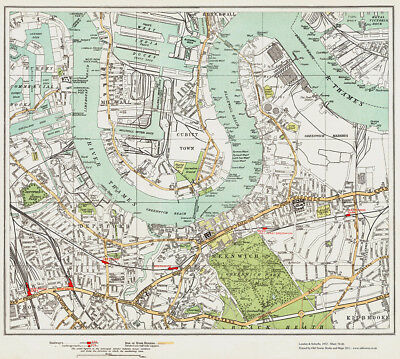 Millwall Deptford Greenwich Map London 1932 #79-80