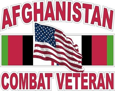 """Afghanistan Combat Veteran With American Flag 5.5"""" Sticker / Decal"""