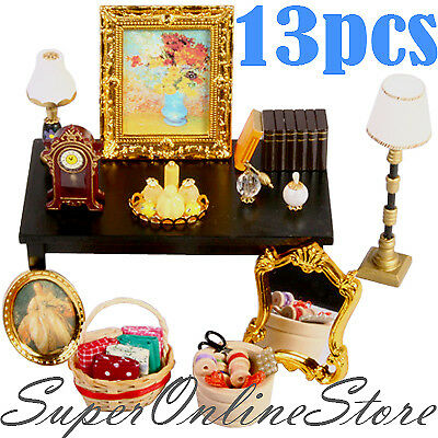 Wooden Furniture Doll House Light Lamp Mirror Perfume