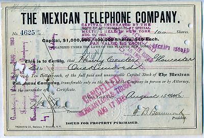 1880's Mexican Telephone Company Stock Certificate