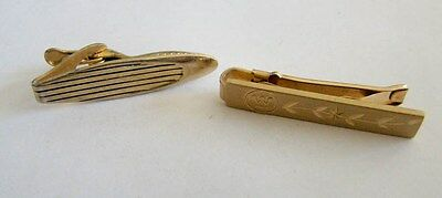 2 Gold Tone Patterned Tie Clips
