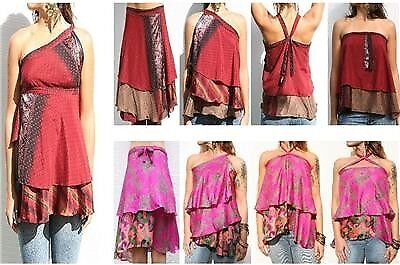 100 Lot Vintage Sari Magic Silk Wrap Skirts Summer Beach Cover Up Dress Dresses