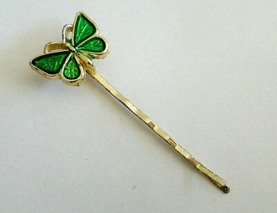 Gold Tone Green Butterfly Hair Pin Costume