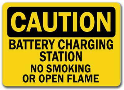 "Caution Sign - Battery Charging Station No Smoking Flames - 10"" x 14"" OSHA Sign"