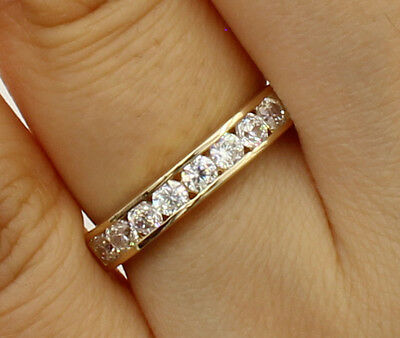 14K Yellow Gold Channel Set Round CZ Wedding Ring Band