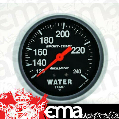 "Autometer Sport Comp 2-5/8"" Water Temp Gauge 120-240°F Mechanical Au3432"