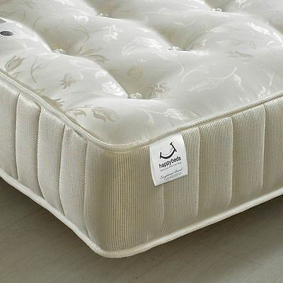 Happy Beds Mattress 5ft King Size Royale Spring Orthopaedic Cream Gold Damask
