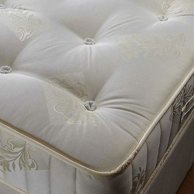 Happy Beds Mattress 4ft6 Double Classic Spring Orthopaedic Cream Gold Damask New