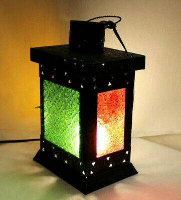 Beautiful Light Moroccan Lantern Lamp Colorful Stained Glass Candle Holder Gift