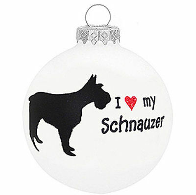 I Love My Schnauzer Dog Ornament Christmas Holiday Glass Personalized Custom