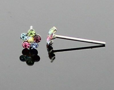 Solid 925 Sterling Silver Multicolour Crystal Flower Nose Stud Straight Pin Bone