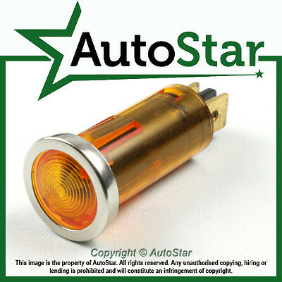 Amber Warning Light Chrome Bezel 12v 12 volt Dash Indicator Classic Kit Car