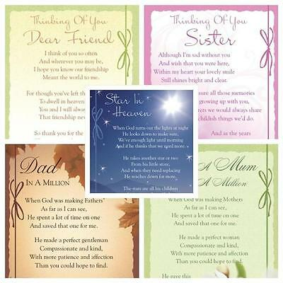 Graveside Bereavement Memorial Cards (b) VARIETY You Choose