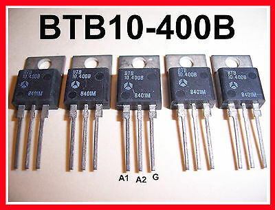 5-Pack SGS-THOMSON BTB10-400B 10A (10 AMP) 400V (400 VOLT) TO-220 TRIAC 5-Pack