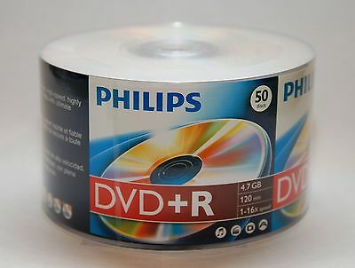 100 PHILIPS Logo 16X DVD+R (Plus) DVDR Blank Disc 4.7GB 120Min Shrink Wrapped